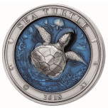 Veealune maailm -Kilpkonn - Barbadose 5$ 2018.a. 3 untsine antiikvimistlusega ja 3D kõrgrelieeftehnikas 99,9% hõbemünt