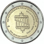 2 € юбилейная монета 2015  г.Сан -Марино - 25-летие объединения Германии
