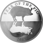Год кабана 2019  -Токелау 5$, 99.9% серебрянная монета с зеркальным изображением.  31.1 г.