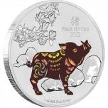 Год Кабана 2019 г -  Острова Ниуэ 2$ 99,9% серебряная монета  с цветной печатью, 1 унция