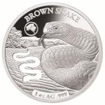 «Формы Австралии -Коричневая змея », Соломоновы Острова 5$ 2019 г. 99,9% серебряная монета с безупречным разрезом, 31.1 г.