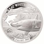«Формы Австралии -Белая акула »,  Соломоновые Острова 5$ 2019 г. 99,9% серебряная монета с безупречным разрезом, 31.1 г.