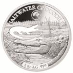 Austraalia loomad - Krokodill - Saalomoni saarte 5 $ 2019.a  1 untsine laserlõikega 99,9% hõbemünt