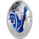 «Дед Мороз и Снегурочка»,  Соломоновы Острова 5$ 2020 г. 99,9% серебряная монета c цветной печатью, 31.1г