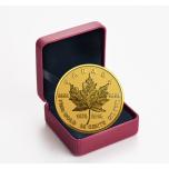 «Золотой кленовый лист монета 40 лет» 0,25 CA$ 2019 г. 99,99% золотая монета 0,5 гр