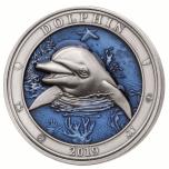 Veealune maailm -Delfiin- Barbadose 5$ 2019.a. 3 untsine antiikvimistlusega ja 3D kõrgrelieeftehnikas, 99,9% hõbemünt