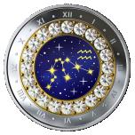 Знаки зодиака - Водолей -Канада 5$ 2019 г. 99,99% серебряная монета с кристаллами Swarovski® 7.96 гp.