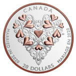 """""""Свадьба в 2020 году"""" – Канада 20 $ 2020 г. 99,99% серебряная монета с позолотой 31,8 гp."""