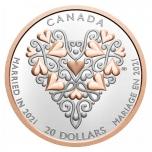 """""""С наилучшими пожеланиями в день свадьбы """" – Канада 20 $ 2021 г. 99,99% серебряная монета с позолотой 31,8 гp."""