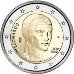 2 € юбилейная монета  2019 г. Италия - 500 лет со дня смерти Леонардо да Винчи