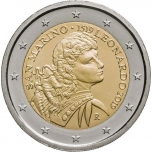 2 € юбилейная монета 2018  г.Сан -Марино -500 лет со дня смерти Леонардо да Винчи