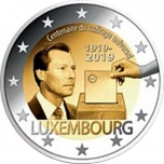Luxembourg 2€ commemorative coin 2019 - The 100th anniversary of the universal suffrage