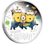 """""""Palju õnne sünnipäevaks!"""" -   Niue Saarte 2 $ 2019.a. värvitrükis 99.9% hõbemünt 31,1 g"""
