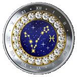 Знаки зодиака -Рыбы  -  Канада 5$ 2019 г. 99,99% серебряная монета с кристаллами Swarovski® 7.96 гp.