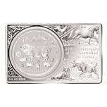 Год Кабана 2019  - Австралия 1 $ - 99.99% серебряная монета в слитке,  Австралия 2019 г.-3 унции