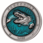 Underwater world series. Crocodille. Barbados 5$ 2019 99,9% silver coin with translucent blue enamel. 3 oz