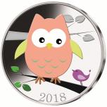 """""""Сова"""" - Самоа 1/2$ 2018 г.  Медно-никелевая монета с цветной печатью"""