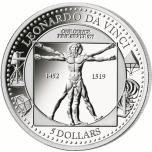 Леонардо да Винчи- Витрувианский человек -  Соломоновы Острова 5$ 2019 г. 99,9% серебряная монета, 31.1 г.