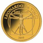 Леонардо да Винчи- Витрувианский человек - Науру  1/2$ 2019 г. 99,99% золотая монета 0,5 гр