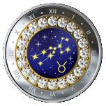 Знаки зодиака -Телец  -  Канада 5$ 2019 г. 99,99% серебряная монета с кристаллами Swarovski® 7.96 гp.