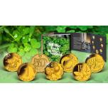 7 позалоченных монет на удачу со всег мира. Набор