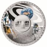 50 vuotta Ensimmäisestä miehitetystä Kuun kamaralle laskeutuneesta avaruuslennosta  - Salomonsaaret 5 $ 2019.v. 99,9%  hopearaha väripainatuksella,  50 g