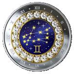 Знаки зодиака -Близнецы  -  Канада 5$ 2019 г. 99,99% серебряная монета с кристаллами Swarovski® 7.96 гp.