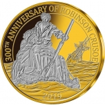 """""""Robinson Crusoe"""" 300 aastat  - Barbadose 1/4$ 2019.a. 3 kullatud mündist komplekt"""