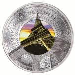 «Эйфелева башня»-  Соломоновы Острова 10 $ 2019 г. 99,9% серебряная монета с со  вставкой из стекла,   5 унции