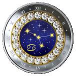Знаки зодиака -Pак  -  Канада 5$ 2019 г. 99,99% серебряная монета с кристаллами Swarovski® 7.96 гp.