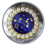 Знаки зодиака -Лев  -  Канада 5$ 2019 г. 99,99% серебряная монета с кристаллами Swarovski® 7.96 гp.