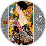 Naine lehvikuga G. Klimt -  Niue Saarte 1 $ 2019.a. värvitrükis 99.9% hõbemünt 17,5 g