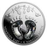 To the Birth of a Child. Crystal Coin -  Niue Island 2$ 2021. 99,9% silver coin with cut Bohemian crystal, 1 oz