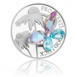 "Silver Crystal Coin - ""For luck aqua bohemica"" Niue Island 2$ 2019. 99,9% silver coin with cut Bohemian crystal, 1 oz"