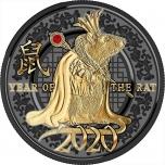 Год Крысы 2020 г - Год счастья и изобилия!  Камерун 500 франк 2020  года 99,9% серебряная монета  с рутинневым покрытием, позолотой и с красным хрусталем Swarovski®  10 гр.