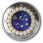 Знаки зодиака - Весы -  Канада 5$ 2019 г. 99,99% серебряная монета с кристаллами Swarovski® 7.96 гp.