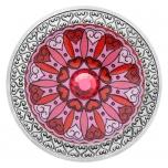 Мандала любви- 99,9% серебряная медаль с цветной печатью и  кристаллами  16. г