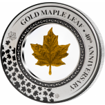 «Золотой кленовый лист - монета 40 лет» - Соломоновы Острова 5$ 2019 г. 99,9% серебряная монета с капсулой с кленовым листом из 0,2 г чистого золота, 2 унции,