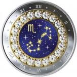 Знаки зодиака - Скорпион -  Канада 5$ 2019 г. 99,99% серебряная монета с кристаллами Swarovski® 7.96 гp.