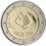 2 € юбилейная монета   2016 г. Мальта - Солидарность через любовь
