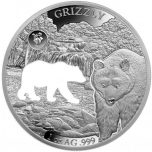 Shapes of America. Cut-Out Silver Coin Collection Grizzly. Barbados 5$ 2020. 99,9% silver coin 1 oz