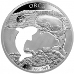 Shapes of America. Cut-Out Silver Coin Collection. Orca. Barbados 5$ 2020. 99,9% silver coin 1 oz