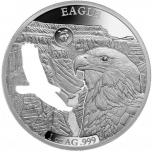 Amerika kuviot -Kotkas- Barbados 5 $ 2020.v  1 unssi 99,9% hopearaha lasererleikauksella