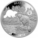Shapes of America. Cut-Out Silver Coin Collection. Beaver. Barbados 5$ 2020. 99,9% silver coin 1 oz