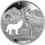 «Животные Америки -Волк »,  Барбадос 5 $ 2020 г. 99,9% серебряная монета с безупречным разрезом, 31.1 г.