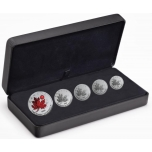 "Kanada hümni ""O Canada""40. sünnipäev  - 1-5 CAD $ 2020.a. viiest 99.99% hõbemündist komplekt."