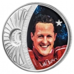 Legendaariset urheilijat Sid Maurerin taiteessa. Michael Schumacher  - Salomonsaaret 5 $ 2018.v. 99,9% hopearaha , 1 unssi
