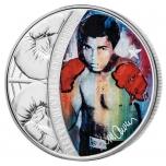 Легендарные спортсмены в творчестве Сида Маурера. Мухаммед  Али -  Соломоновы Острова 5$ 2018 г. 99,9% серебряная монета, 31.1 г.