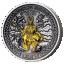 Скандинавские боги. Один - Острова Кука  1 $ 2021 99,9% серебряная монета с антик обработкой и с позолотой, 2 унции