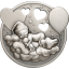 Kehtolaulu - Pikku prinsessa,  Cookin saari 5 $ 2019.v. antiikkipatinoinoitu 1 unssi  99,9% hopearaha ja soittorasia